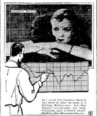 """""""In a recent film, Constance Bennett was heard to utter the name of a fictious British peer. But Miss Bennett never spoke the word. NEITHER DID ANYONE ELSE!"""" - Central Press 1932"""